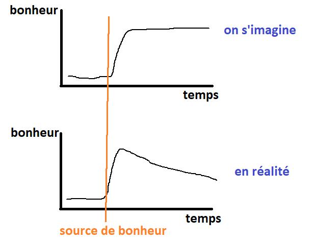 graphe : évolution du bonheur dans le temps après une acquisition matérielle