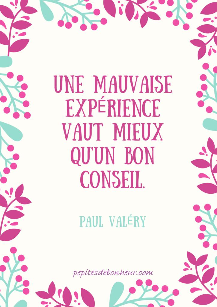une mauvaise expérience vaut mieux qu'un bon conseil, paul valéry, citations leçon de vie