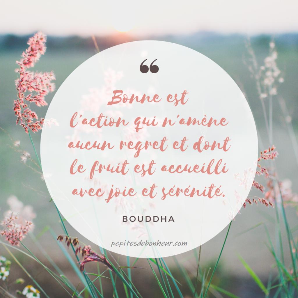 bonne est l'action qui n'amène aucun regret et dont le fruit est accueilli avec joie et sérénité bouddha